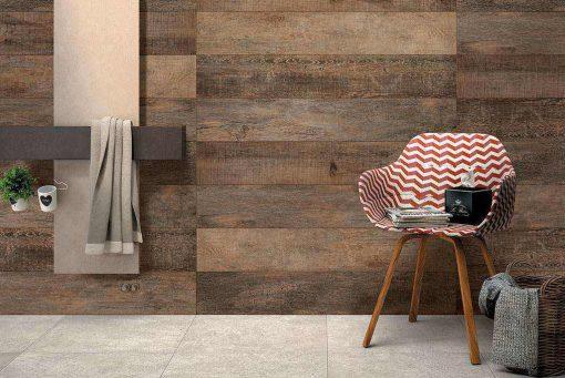 noon effetto legno particolare della posa in un bagno