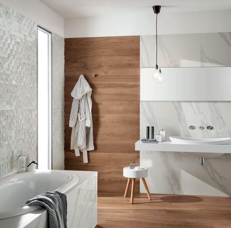 progettare il bagno effetto legno ed effetto marmo