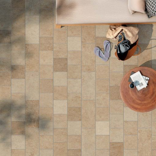 pavimento esterno effetto pietra venata beige
