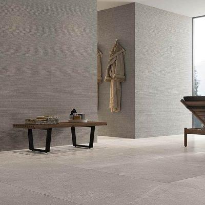 ambiente bagno con piastrella effetto pietra lumina stone grey