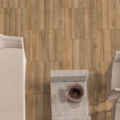 pavimento esterno effetto quadrotta legno easygrout oak posato